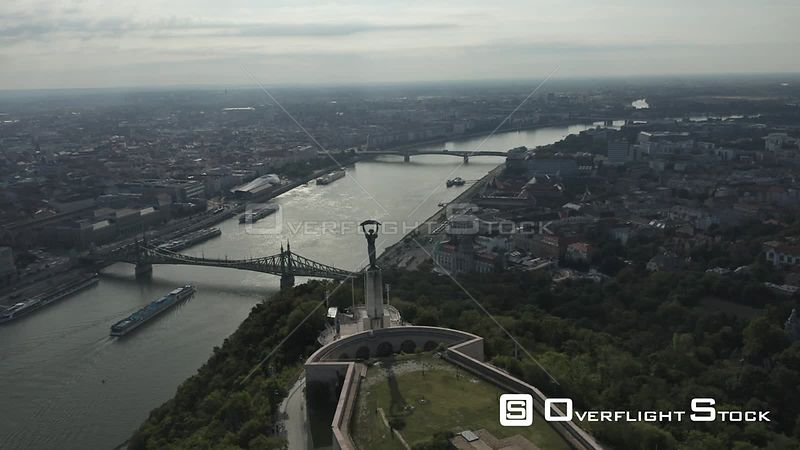 Aerial Drone Video of Budapest Citadel Hungary