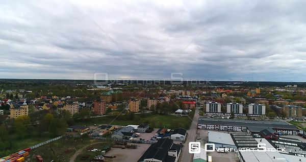 360 view of the town Gävle in Sweden, revealing the harbour area and cost line