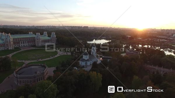Sunset Pass Over Flight Tsaritsino Historic Estate. Moscow Russia Drone Video View