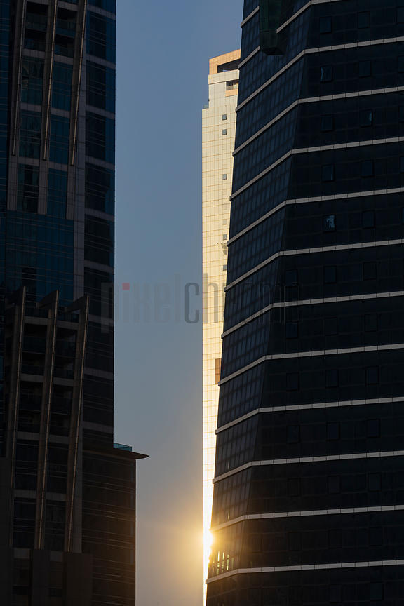 Sun Reflecting of Skyscraper along the Dubai Canal