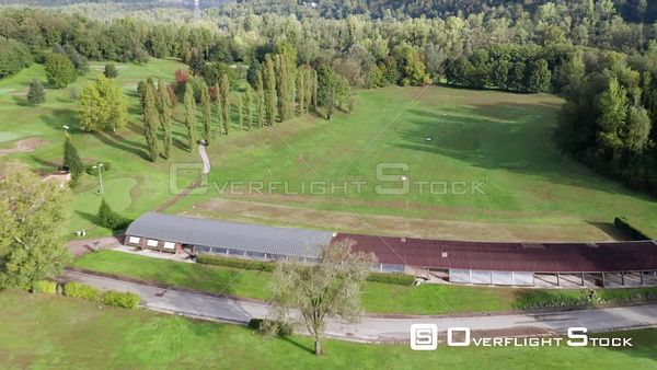 Golf Course on the Ganks of Adda River, near Milan Italy Drone View