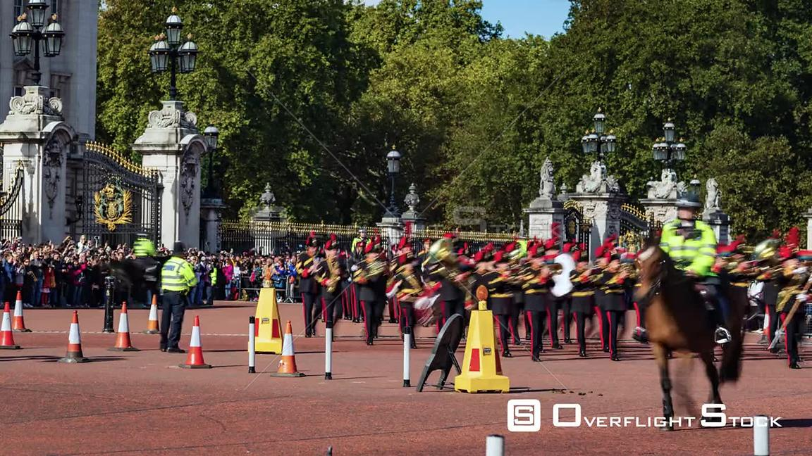 Timelapse view of changing the guard at Buckingham Palace, London