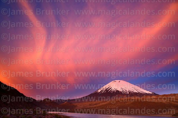 Fiery sunset over Parinacota volcano, Lauca National Park, Region XV, Chile