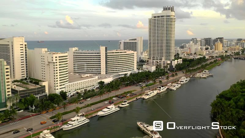 Aerial video yachts and Fontainebleau Miami drone shot 4k