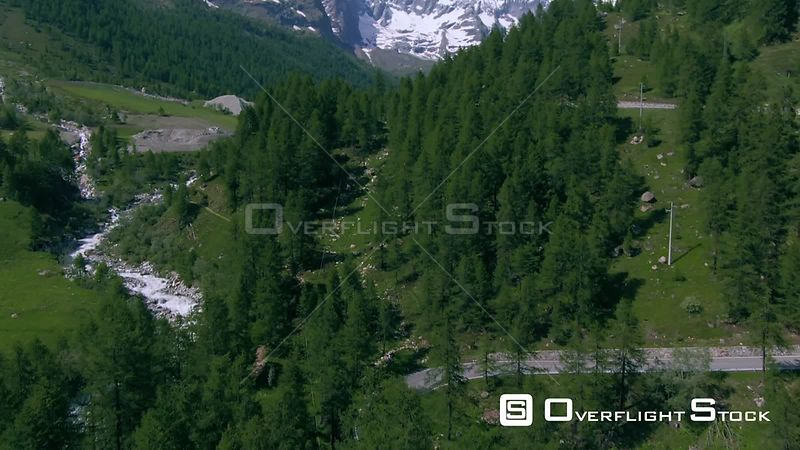 mount Cervino (matterhorn) in the Italian Alps over pine trees