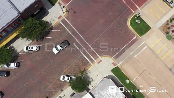 Tracking a Pickup Truck on a Brick Street, Downtown, Lindsborg, Kansas, USA