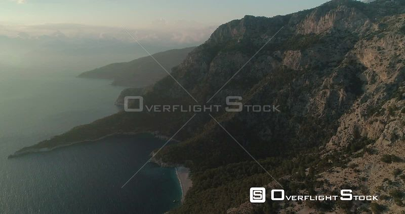 High Aerial View of Paradise Bay Ancient Ruins in Kabak Faralya Turkey