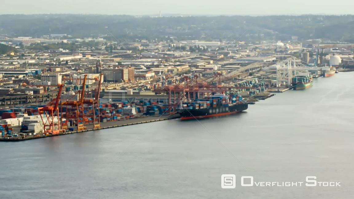 Seattle Washington State USA Seattle city traffic time lapse of shipyard with a mosaic effect on the clip.