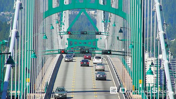 Traffic on Lions Gate Bridge in Vancouver, BC. Canada