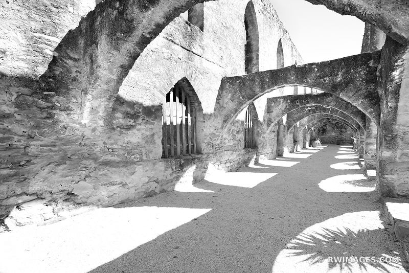 MISSION SAN JOSE SAN ANTONIO MISSIONS TEXAS BLACK AND WHITE
