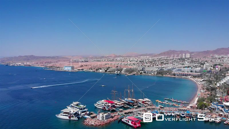 Eilat City with Marina Boats Hotels and Landscape Israel