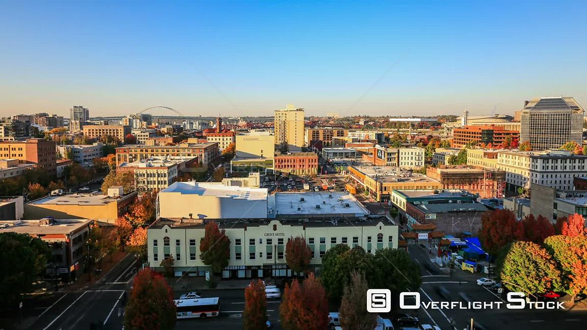 Portland Oregon USA Portland cityscape panning time lapse before sunset on October th