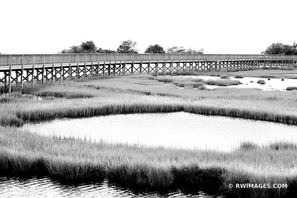 CHINCOTEAGUE BAY BOARDWALK ASSATEAGUE ISLAND NATIONAL SEASHORE MARYLAND BAYSIDE BLACK AND WHITE
