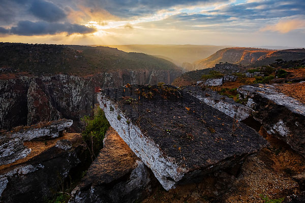 View of the Daireho Gorge from the Dixam Plateau at Sunset