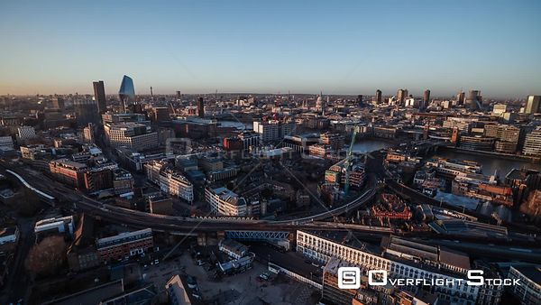 Drone Video Cityscape Dusk London England