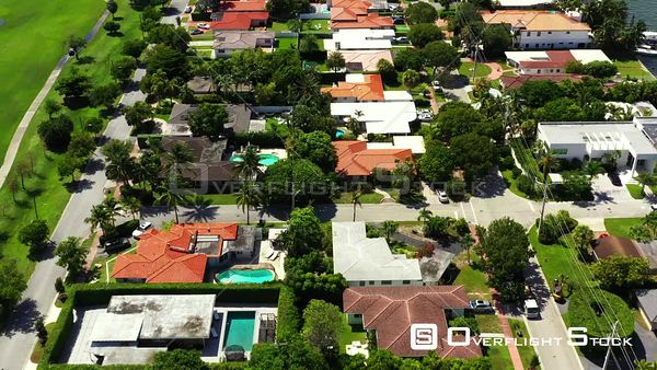Aerial angle flyover residential homes Miami Beach Normandy Isles 4k