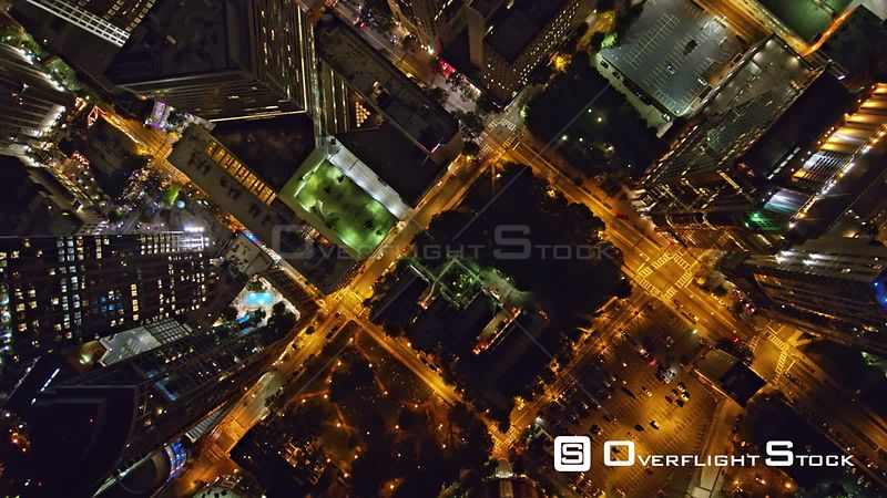 North Carolina Charlotte Aerial Vertical cityscape view flying through downtown at night