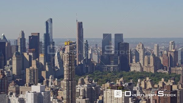 NYC New York Panning birdseye from Central Park West, Columbus Circle skyline to Upper East Side to Roosevelt Island
