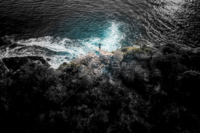 Stylized Long Exposure Drone Shot of Shelly Headland Waves