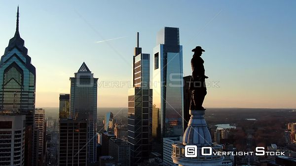 Philadelphia, Pennsylvania Golden Hour Orbit of William Penn Statue at City Hall Includes Skyline
