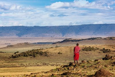 Maasai Tribe Man Looking Over Land