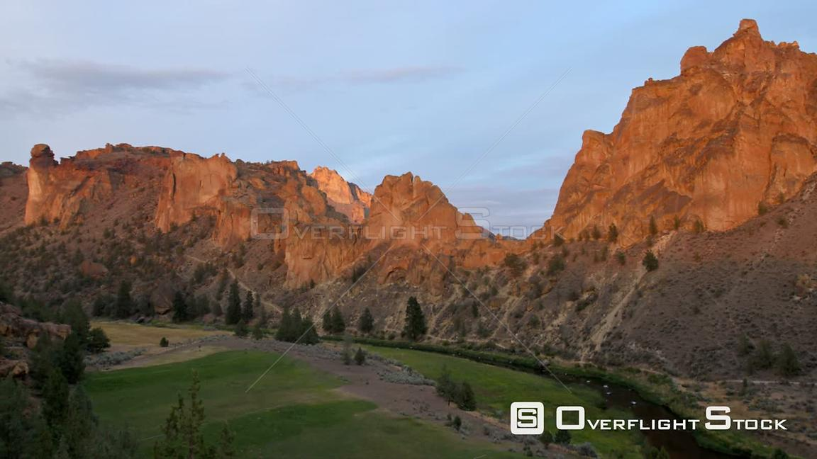 Oregon USA Time lapse of Smith Rocks during sunsetVery beautiful orange red on rocks.