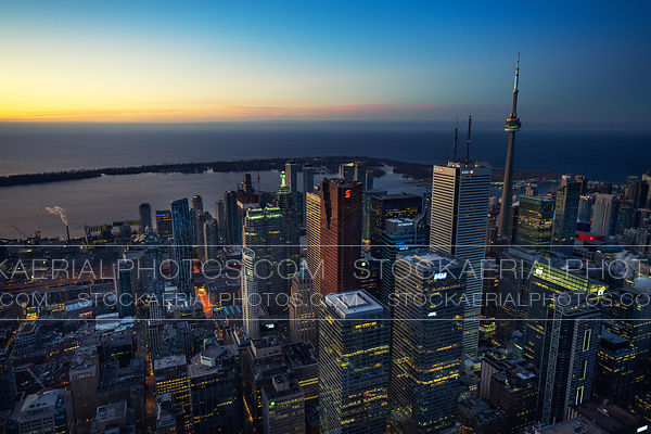 Toronto's financial district at sunrise