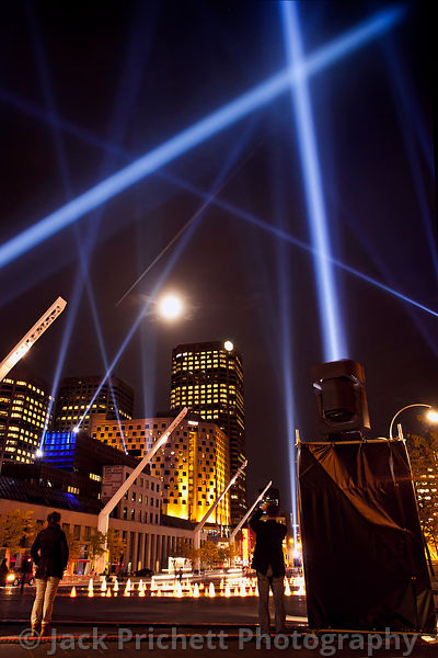 Searchlights over Place des Artistes, Montreal.