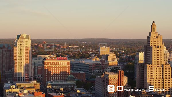 Providence Rhode Island Slight ascending panning cityscape of downtown high rises at sunrise