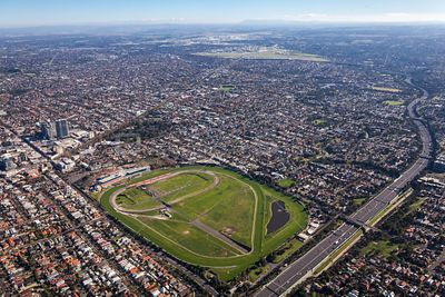 Aerial view of Moonee Ponds in Victoria, Australia.