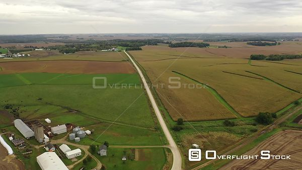 Dairy farm and corn fields in Iowa