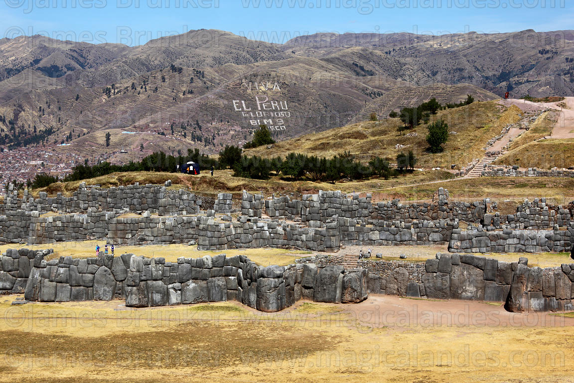 View over the site of Sacsayhuaman, on a hilltop above Cusco, Peru