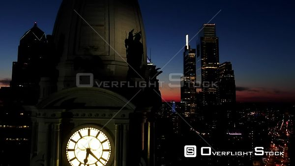 Philadelphia, Pennsylvania City Hall Clock Tower at Sunset With Skyline in Background