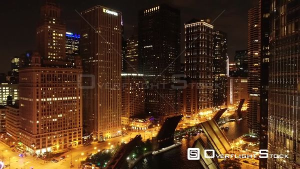 Trump Tower Nighttime Chicago Illinois Drone Aerial View