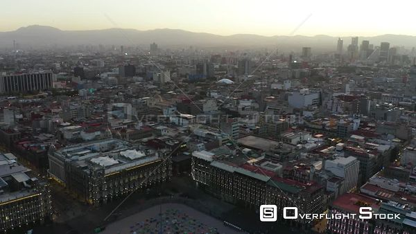 Downtown Dusk City Skyline  Mexico City Drone Aerial View