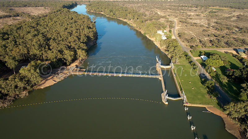Wentworth weir, aerial, looking downstream.