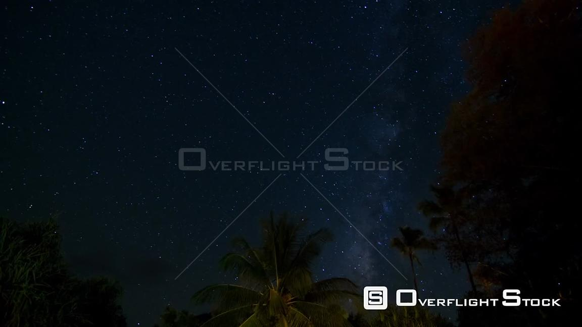 Hawaii USA Beautiful milky way star time lapse in KauaiPreview is darker than actual clip.