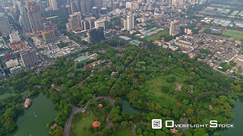 Thailand Bangkok Aerial Looking down, up, out from Lumphini Park to cityscape view