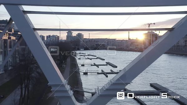Fly Through a New Bridge at Sunrise. Saint Petersburg Russia Drone Video View
