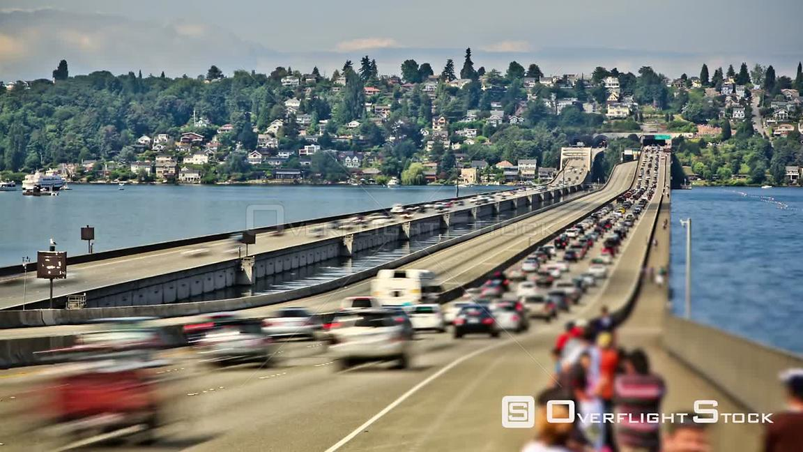 Seattle Washington State USA Seattle I90 traffic time lapse using a photo effect.