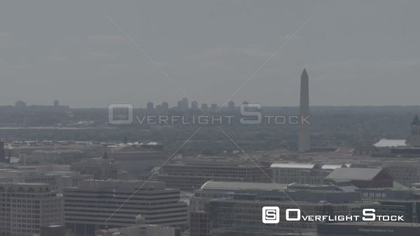 Lingering Shot With the Washington Monument in Right of Frame Washington DC Drone Aerial View