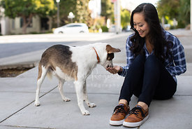 Young Asian Woman Feeding Treat to Dog on Sidewalk
