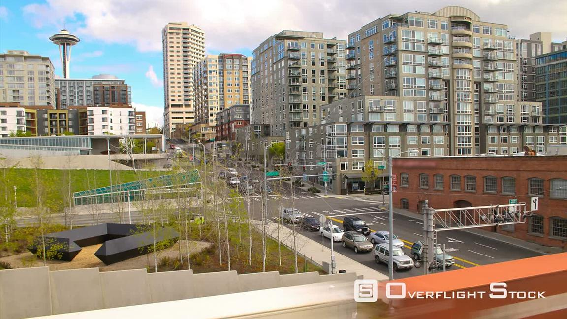 Seattle Washington State USA Time lapse clip of Seattle waterfront area and streets with train going by.