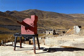 Machine for crushing ore at partly abandoned mine at Kaluyo, La Paz Department, Bolivia