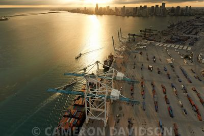 Aerial of the Port of Miami