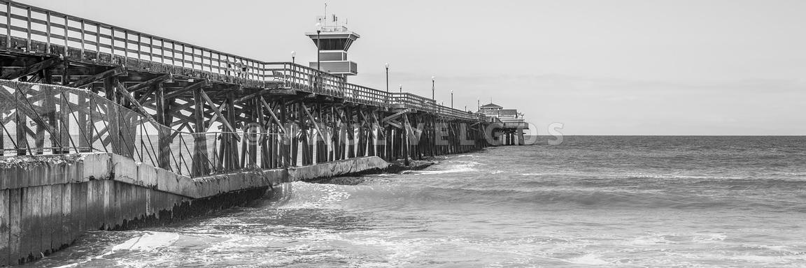 California Seal Beach Pier Black and White Panorama Photo