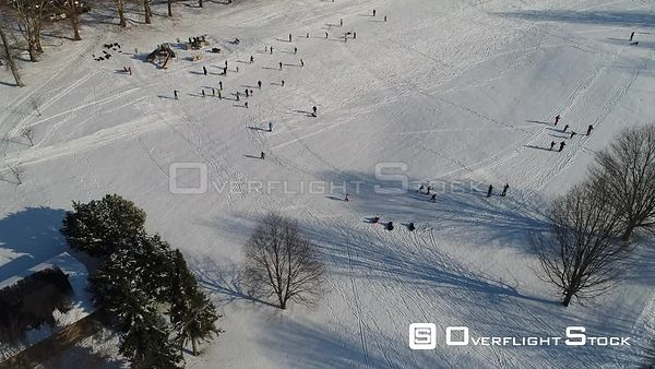 Cross Country Skiing on Mendon Pond New York Aerial View