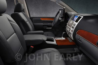 SUV Interior Charcoal Leather Dark Wood trim