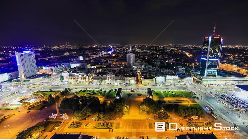 Time lapse of city traffic iand cityscape n Warsaw, Poland.