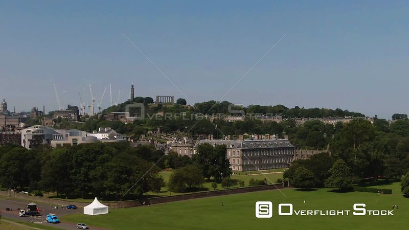 Aerial view of Holyroodhouse palace in Edinburgh